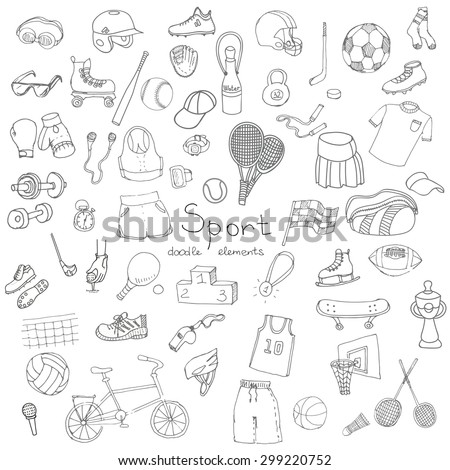 Hand drawn doodle sport set. Vector illustration. Sketchy sport related icons, tennis, golf, baseball, basketball, football, soccer, volleyball, rugby, hockey, fitness, boxing, running, bicycle - stock vector