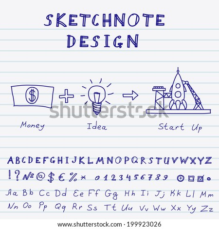 Hand Drawn Doodle Start Up Infographic. Vector sketch note design with alphabet, numbers and symbols - stock vector