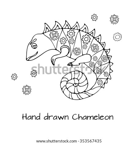 Hand Drawn Doodle Style Chameleon With Mechanic Details Inside Robot Animal Black And