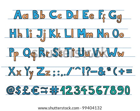 Hand drawn doodle style font with colorful letters. - stock vector