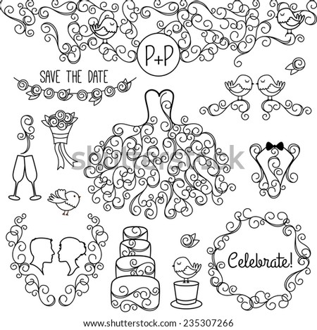 Hand Drawn Doodle Style Wedding Vector Set with Dress, Tuxedo and Monogram Border - stock vector