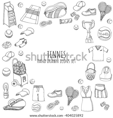 Hand drawn doodle Tennis game set Vector illustration tennis equipment Sport symbols Isolated icons collections Cartoon tennis concept elements Racket, tennis ball, tennis dress, shoes, tennis court - stock vector