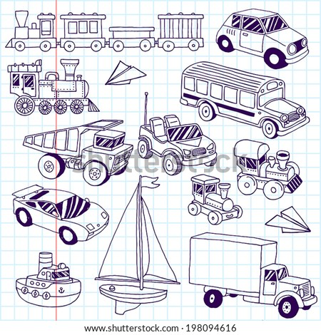 Hand drawn doodle transport toys set. Vector illustration. School notebook. - stock vector