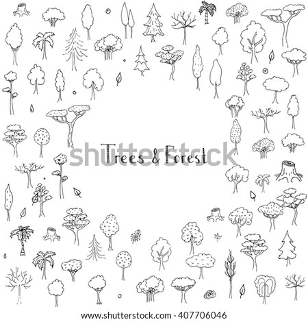 Hand drawn doodle Trees and Forest set. Vector illustration Plant icons Forest concept elements. Isolated silhouette nature symbols collection. Clipart design. Leaf Fir Ever green Branch Stump - stock vector