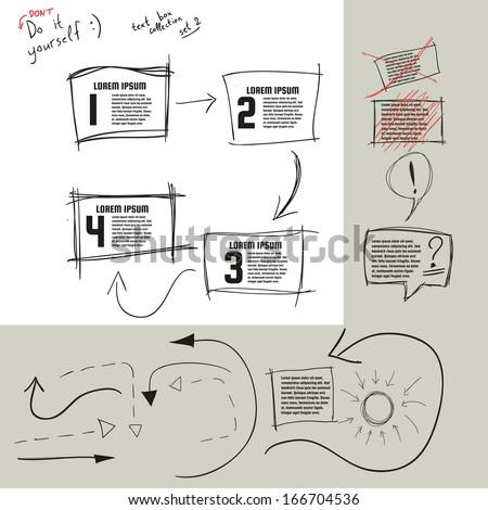 Hand drawn doodle vector text box collection. Vector eps10. Bonus: arrows :) - stock vector