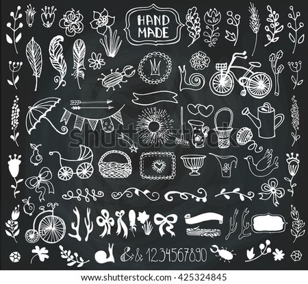 Hand Drawn Doodle Vintage Floral Decorative Stock Vector 425324845