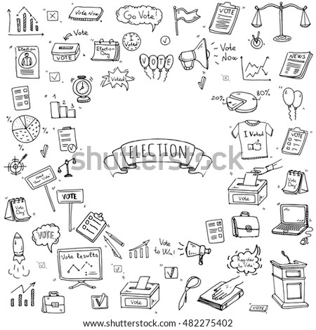 Hand Drawn Doodle Vote Icons Set Stock Vector 2018 482275402