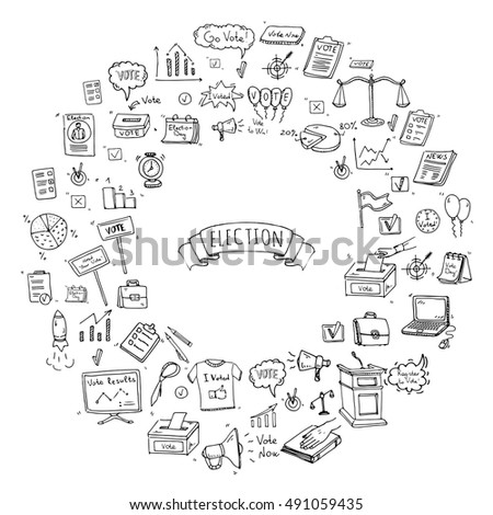 Hand Drawn Doodle Vote Icons Set Stock Vector 491059435 Shutterstock