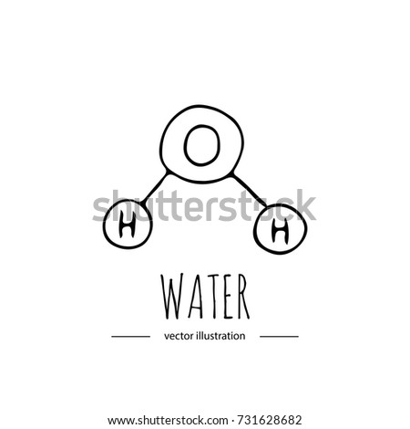 Hand Drawn Doodle Water Chemical Formula Stock Vector 731628682