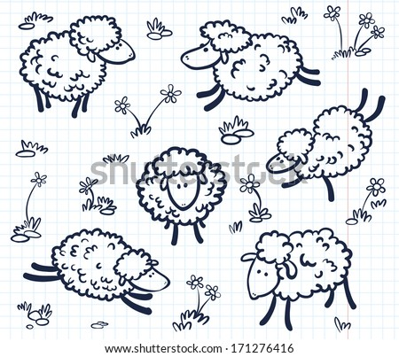 Hand drawn doodle with sheeps  - stock vector