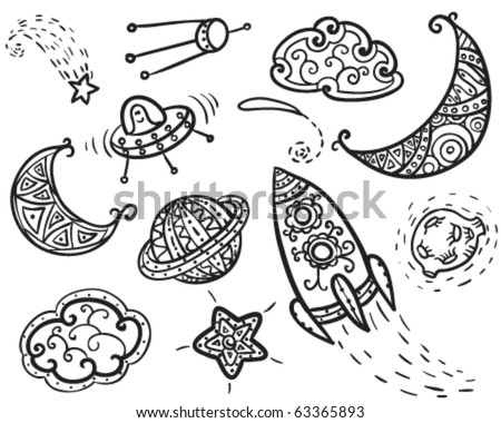 Hand-drawn doodle with space elements - stock vector
