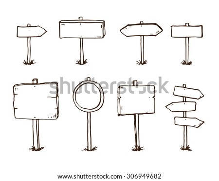 Hand drawn doodle wood signs and arrows - stock vector