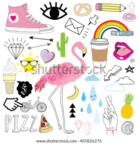 hand-drawn doodles collection - stock vector