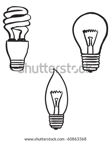 hand-drawn doodles of lightbulb varieties - stock vector
