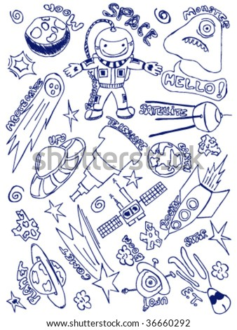 Hand-drawn doodles with a space exploration theme - stock vector