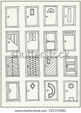 Hand drawn doors isolated on white background - stock vector