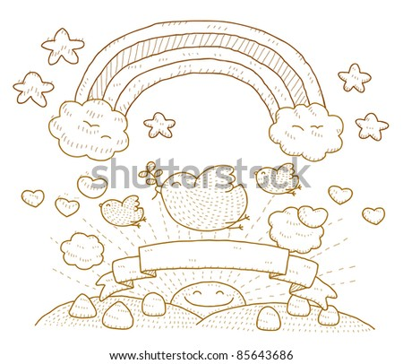 Hand drawn Dove,cloud,rainbow and Simply peace - stock vector