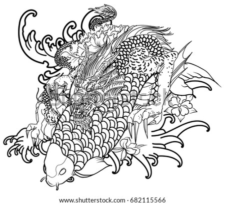 Hand Drawn Dragon And Koi Fish With Flower Tattoo For Arm Japanese Carp Line Drawing