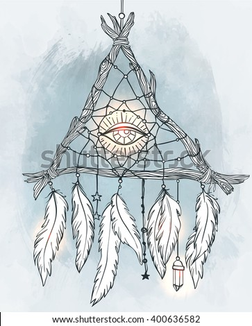 Hand drawn drawing of a triangle-shaped dreamcatcher with feathers, eye. Vector illustration isolated. Ethnic tattoo design with American Indians amulet, tribal symbol.