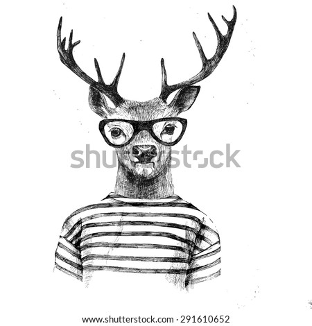 Hand drawn dressed up deer in hipster style - stock vector