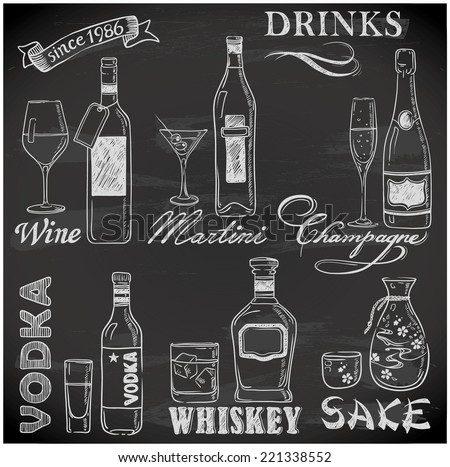 hand-drawn drink menu on chalkboard - stock vector