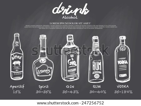 hand-drawn drink menu on chalkboard.The amount of alcohol.  - stock vector
