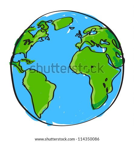Hand drawn earth on white - stock vector