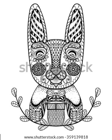 Hand drawn easter rabbit gift doodle stock vector 359139818 hand drawn easter rabbit with gift in doodle zentangle style for adult artistically ethnic ornamental negle Gallery