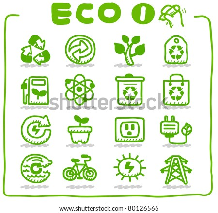 Hand drawn Eco Icon - stock vector
