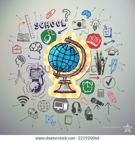 Hand drawn education icons set and sticker with earth globe. Vector - stock vector