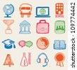 Hand drawn education icons - vector icons - stock vector