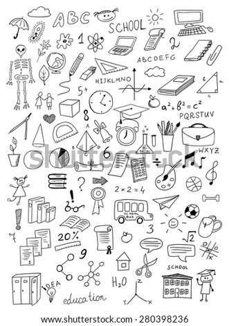 hand drawn education vector set on white background - stock vector