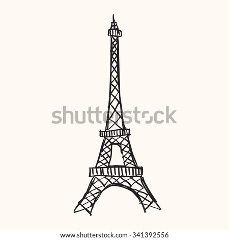 Hand drawn Eiffel tower, Paris, France. - stock vector