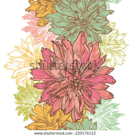 Hand drawn elegance  retro floral vertical seamless border.  All objects are conveniently grouped  and are easily editable. - stock vector
