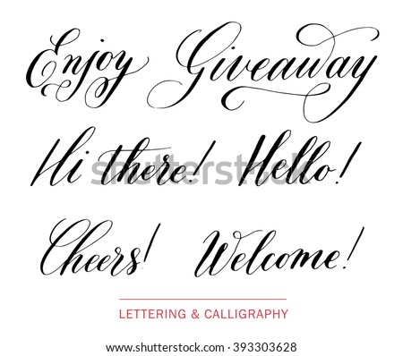 Hand Drawn Elegant Catchwords For Your Design Hi There Giveaway Hello Welcome