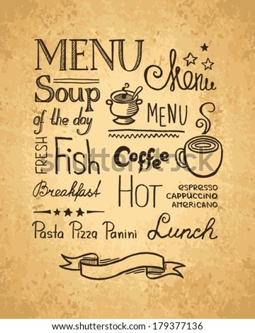 Hand drawn elements for design menu. Vintage style. - stock vector