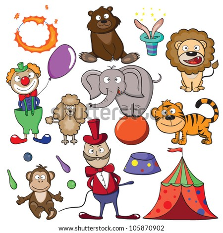 """Hand-drawn elements for your design on a theme """"circus"""". Vector illustration. - stock vector"""