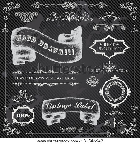 hand drawn elements on chalkboard stock vector royalty free