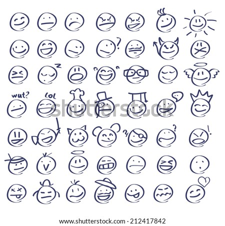 Hand drawn emoticon set - stock vector