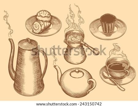 """Hand drawn engraving """" Tea,coffee and cakes """" isolated on color background .8 EPS - stock vector"""