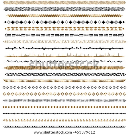 Hand-drawn ethnic brushes set. Artistic vector collection of design elements tribal geometric ornament. Pattern brushes are included in EPS file