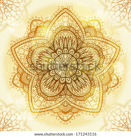 Hand drawn ethnic circular beige ornament. Eps10 - stock vector