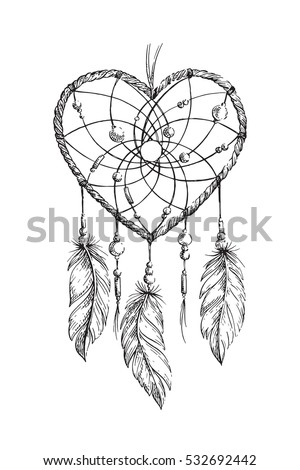 hand drawn ethnic dreamcatcher heart coloring page for adults vector illustration boho isolated - Dream Catcher Coloring Pages