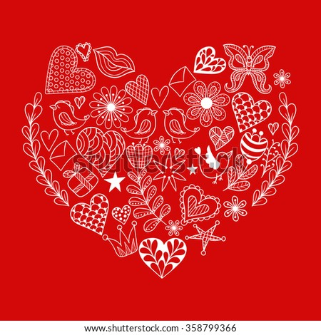 Hand drawn ethnic ornamental patterned red heart with romantic doodle elements of St. Valentine's day, zentangle vector illustration  for adult coloring pages, tattoo, t-shirt or prints. - stock vector
