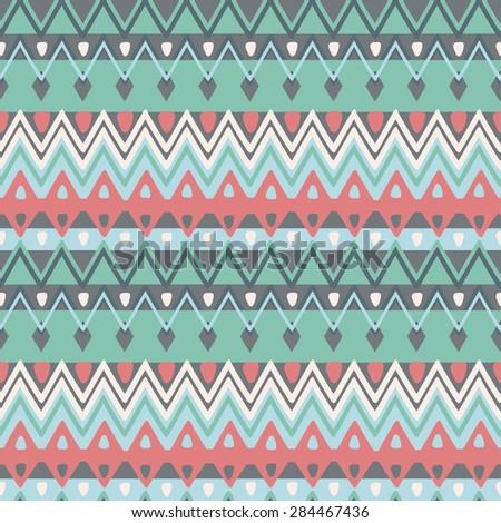 Hand drawn ethnic zigzag pattern, seamless vector Illustration.  - stock vector