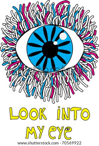 hand-drawn eye with abstract doodles - stock vector