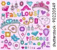 Hand-Drawn Fabulous Fashion Princess Notebook Doodle Design Elements Set on Pink Lined Sketchbook Paper Background- Vector Illustration - stock vector
