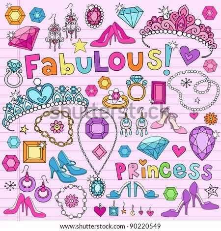 Hand-Drawn Fabulous Fashion Princess Notebook Doodle Design Elements Set on Pink Lined Sketchbook Paper Background- Vector Illustration - stock vector