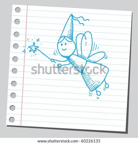 Hand drawn fairy - stock vector