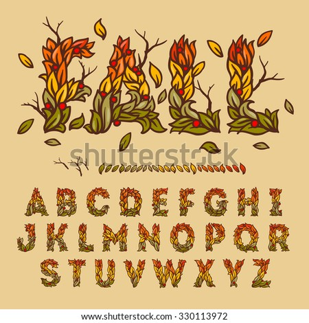 Hand drawn fall alphabet made with leaves, use for fall festival design,vector illustration. - stock vector